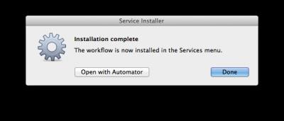 Automator - Automatische installatie van de workflow - klaar!