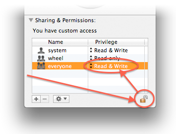 MacOS X - Sharing & Permissions instellingen