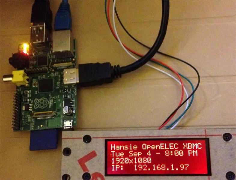 Raspberry Pi met OpenELEC XBMC en een HD44780