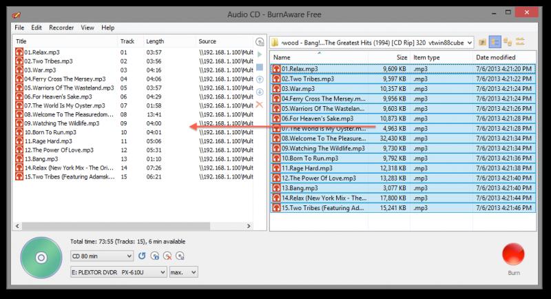 Sleep MP3's naar de linker helft van Burnaware