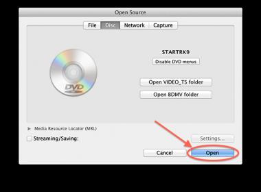 VLC MacOS X - Bevestig de geselecteerde DVD