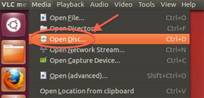 VLC Linux (Ubuntu) - Open Disc