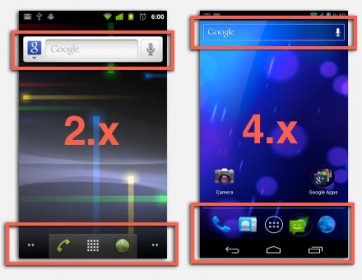 Android 2.x versus Android 4.x