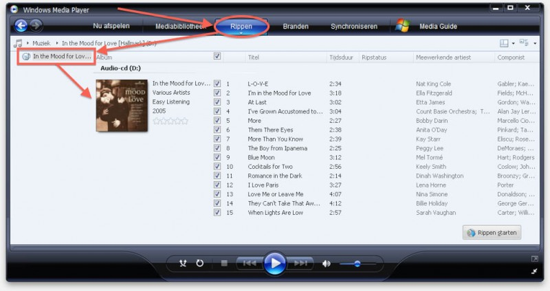 Windows Media Player herkend de Audio CD