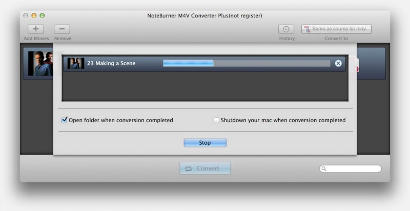 NoteBurner - Conversie in volle gang