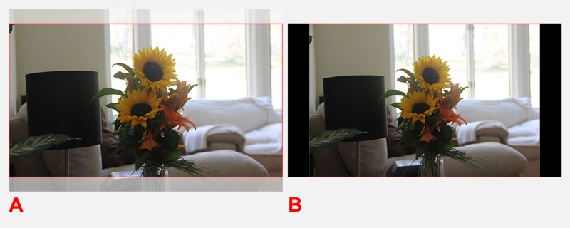 Foto naar TV Aspect Ratio - Cropping (A) of Letterboxing (B)