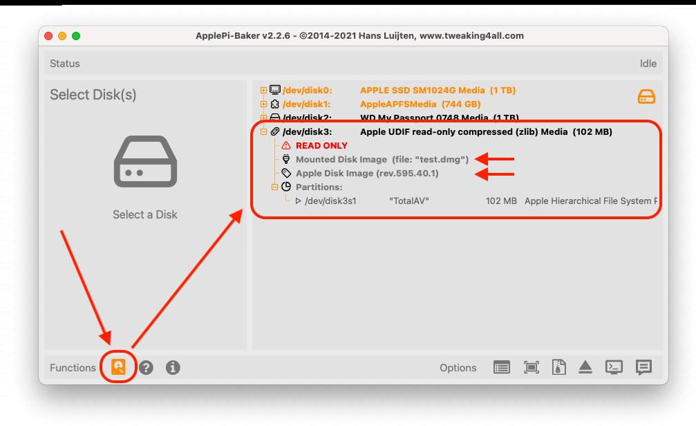 ApplePi-Baker - Geavanceerd - Selecteer de DMG disk