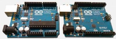 Arduino UNO: Standaard (links) versus SMD (rechts)
