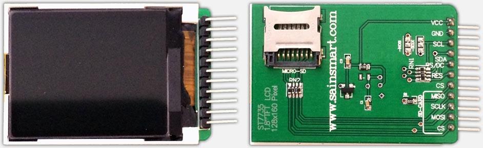 """Sainsmart 1.8"""" TFT LCD Kleuren Display voor gebruik met een Arduino"""