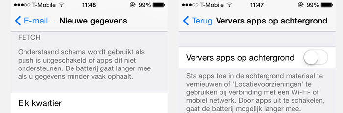 iPad/iPhone - E-mail controleren en Apps verversen in de achtergrond