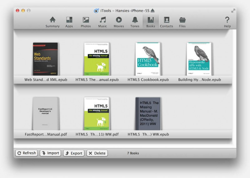 iTools (Mac) - Books venster