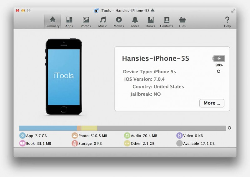 iTools (Mac) - iPhone en iPad verbonden