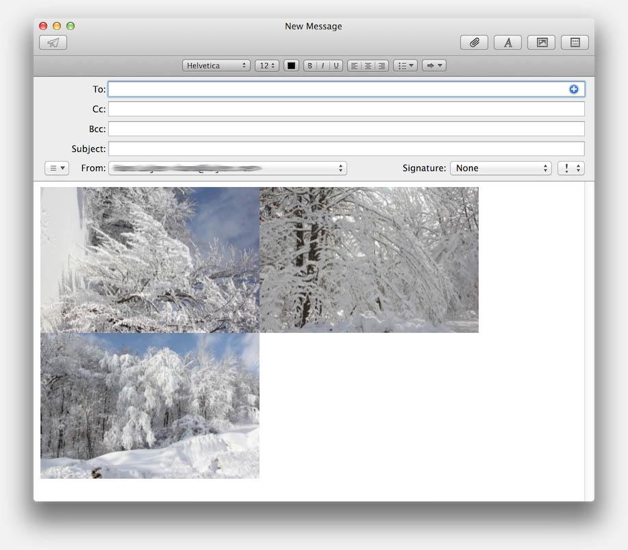 Voorbeeld van een email met verkleinde afbeeldingen