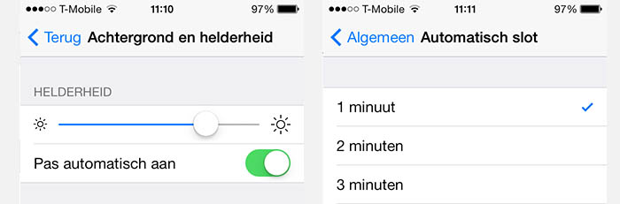 iPad/iPhone - Helderheid en Automatisch Slot
