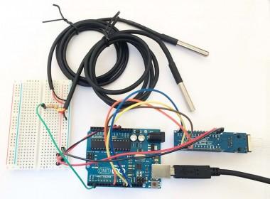 Arduino, ENC28J60 en 2x DS18B20 test opstelling
