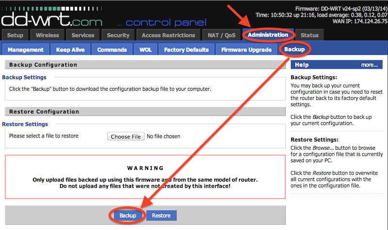 NetGear R7000 - DD-WRT - Instellingen backup