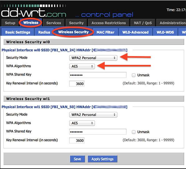 NetGear R7000 - DD-WRT - Wi-Fi beveiliging