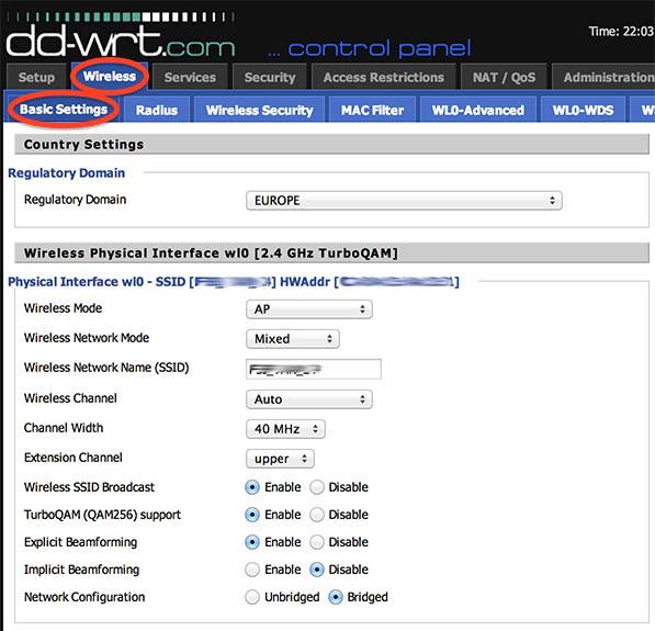 NetGear R7000 - DD-WRT - Wi-Fi instellingen