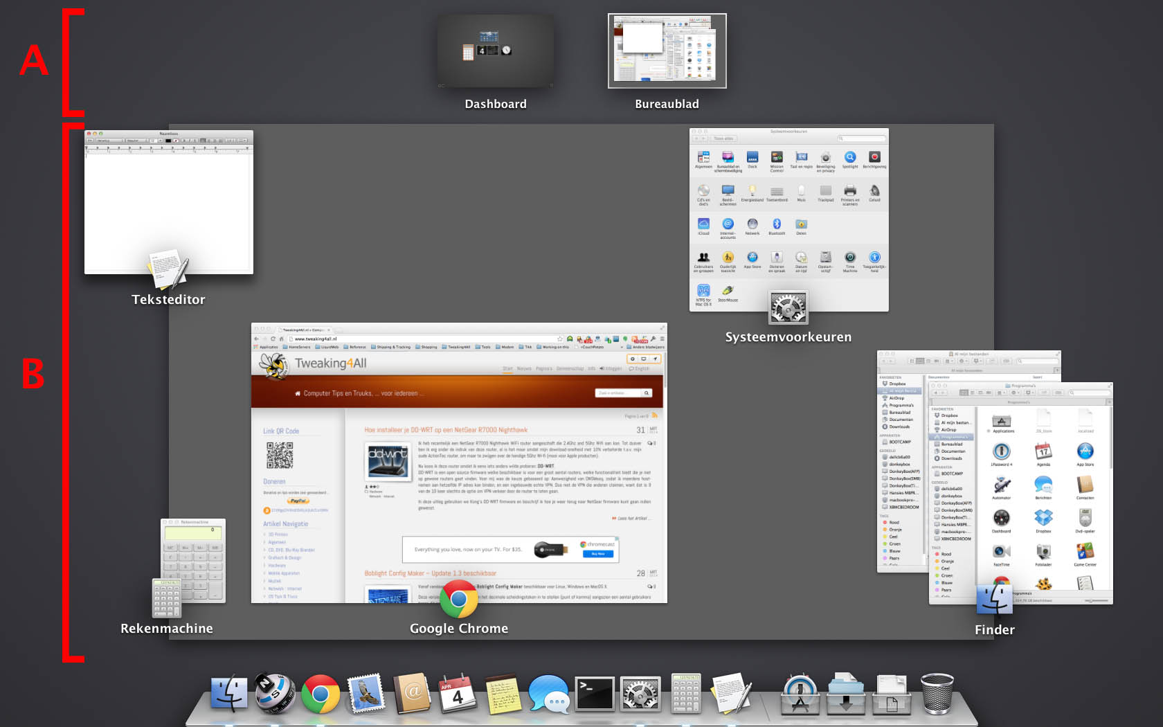 MacOS X - Mission Control geopend