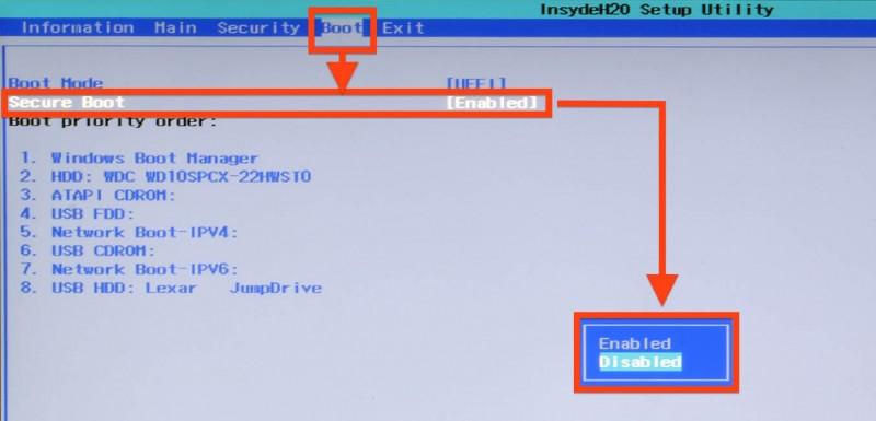 UEFI BIOS - Uitzetten van Secure Boot