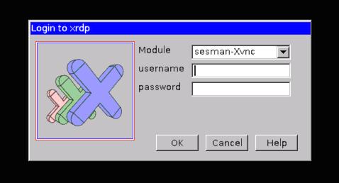 xRDP - Login Scherm