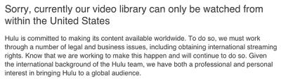 Hulu laat weten dat het alleen in de VS werkt