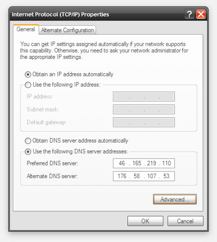 UnoTelly/WindowsXP -DNS instellingen