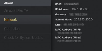 Amazon Fire TV - About - Network - IP Adres