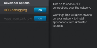 Amazon Fire TV - System - ADB Debugging aanzetten