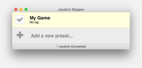 Actieve Preset bij Joystick Mapper
