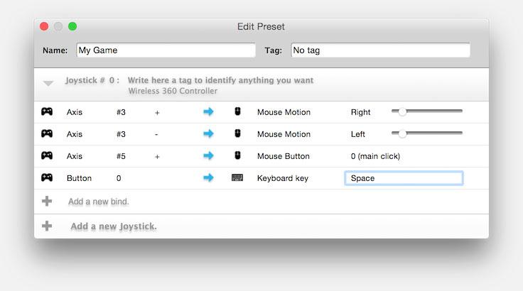 Een paar voorbeelden van Joystick Mapper
