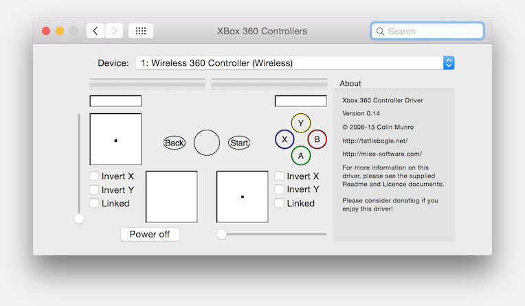System Preferences - XBox 360 Controllers
