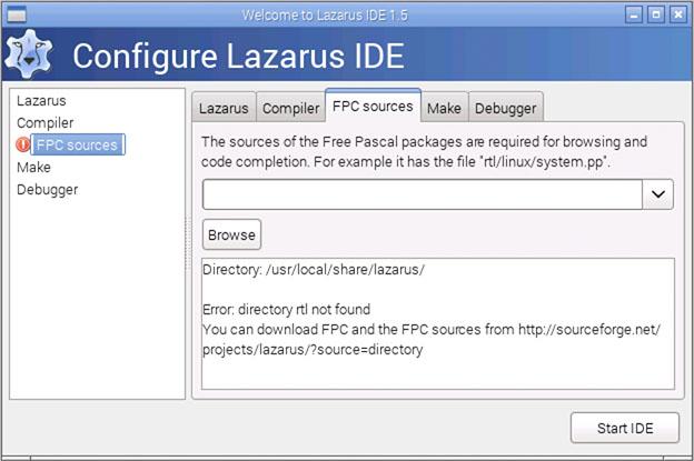 RaspBian - Lazarus kan de FPC sources niet vinden