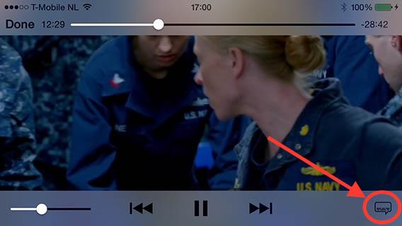 """Druk de """"Ondertiteling"""" knop op jouw iOS apparaat"""