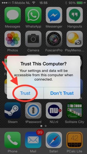 """De """"Trust"""" knop op bijvoorbeeld een iPhone"""
