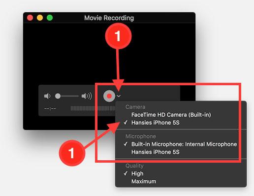 QuickTime - Kies jouw iOS apparaat als bron
