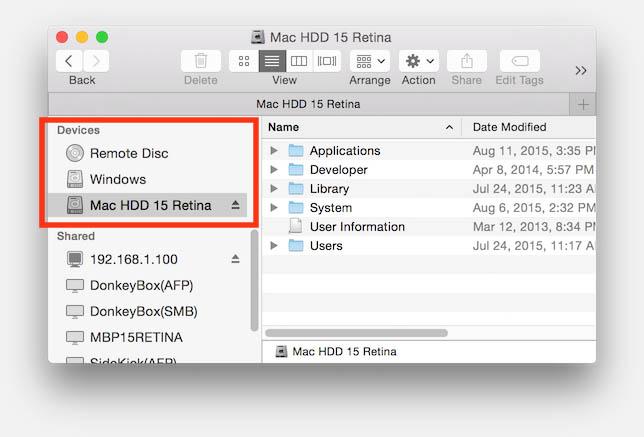 Target Disk Mode - De drives zichtbaar!