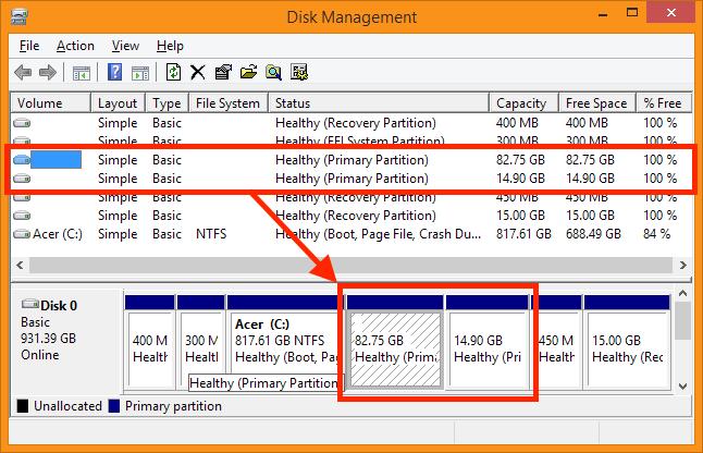 Disk Management - Bepaal wat de Linux Partities zijn