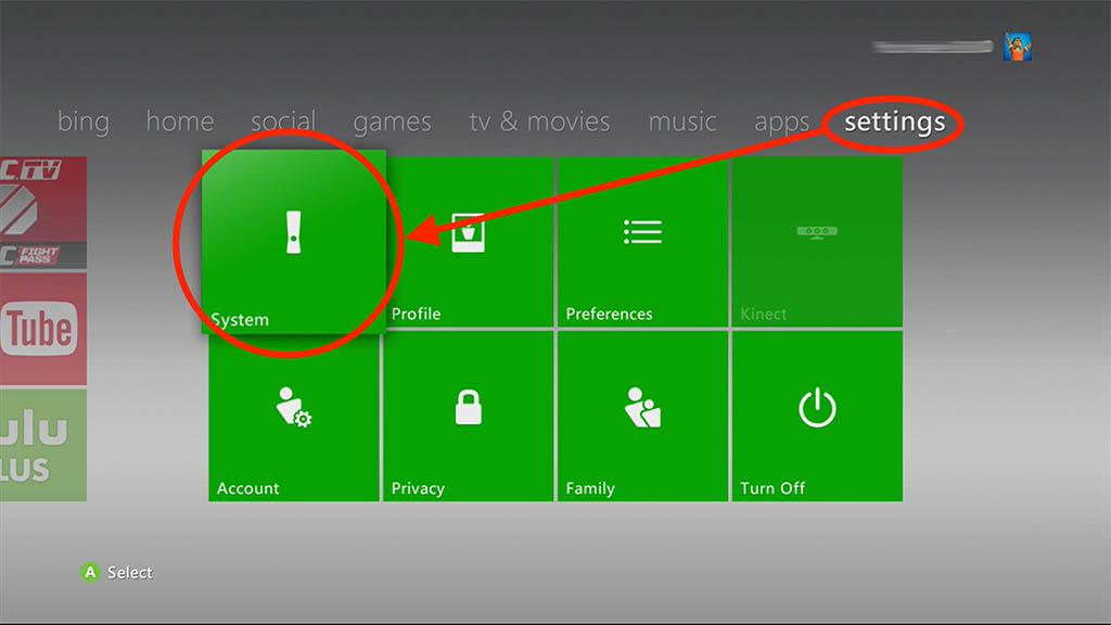 "XBox 360 - Ga naar ""Settings"" - ""System"""