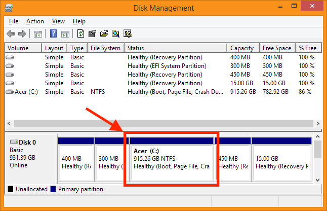 Disk Management - De gegroeide Windows partitie