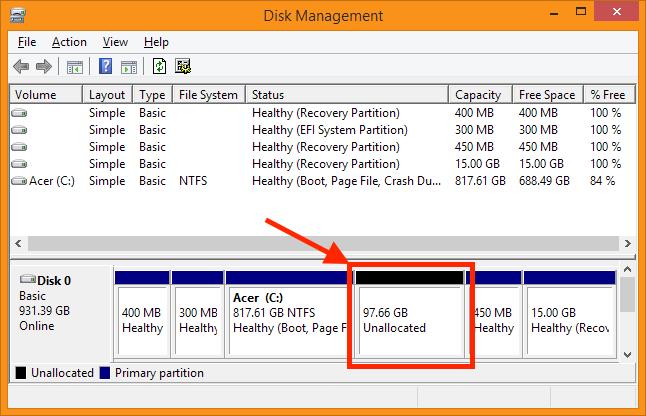 """Disk Management - """"Unallocated"""" (ongebruikte) ruimte op de disk"""