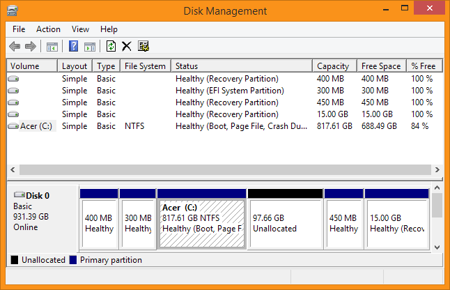 Disk Management - Windows partitie uitbreiden