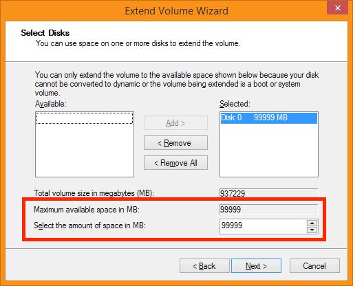 Extend Volume Wizard - Hoe groot moet ie worden?