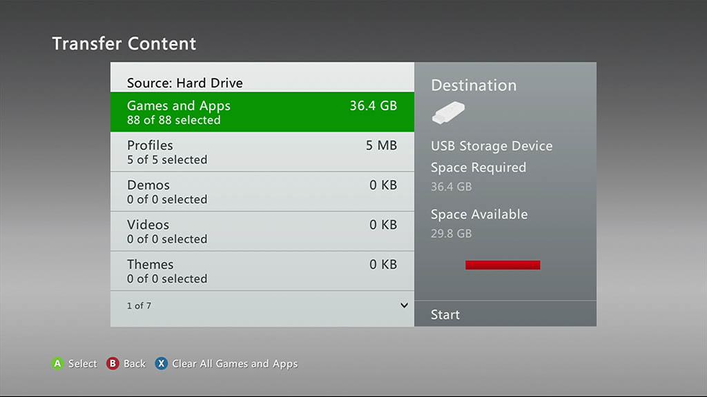XBox 360 - Selecteer gewenste content