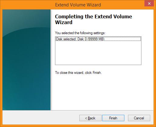 Extend Volume Wizard - Overzicht van gekozen acties
