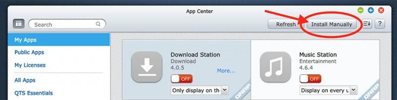 QNAP - App Center voor installatie van QPKG's