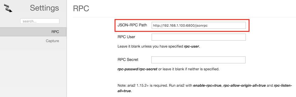 Aria2c Integration - Instellingen