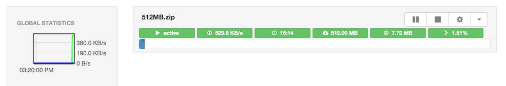 Aria2 is ons test bestand aan het downloaden