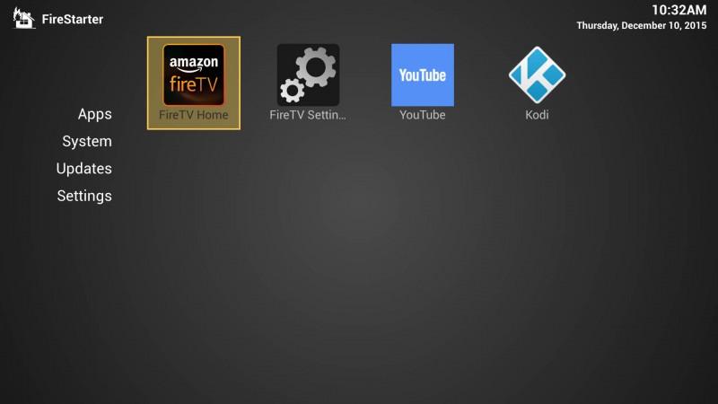 FireStarter - Home scherm