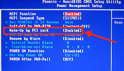 Wake On Lan - BIOS voorbeeld 5